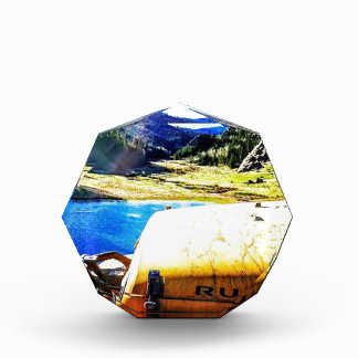 Top of a Yellow Jeep with Mountains Award
