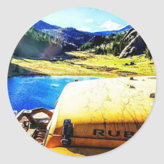 Top of a Yellow Jeep with Mountains Classic Round Sticker