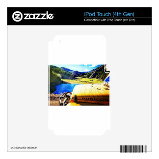 Top of a Yellow Jeep with Mountains Decals For iPod Touch 4G