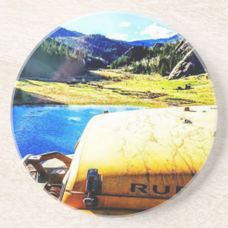 Top of a Yellow Jeep with Mountains Drink Coaster