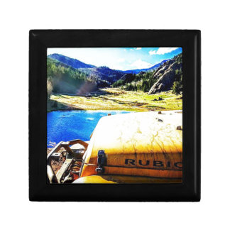 Top of a Yellow Jeep with Mountains Gift Box