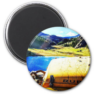 Top of a Yellow Jeep with Mountains Magnet