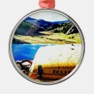Top of a Yellow Jeep with Mountains Metal Ornament