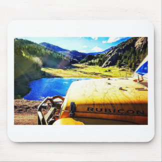 Top of a Yellow Jeep with Mountains Mouse Pad