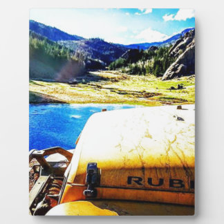Top of a Yellow Jeep with Mountains Plaque