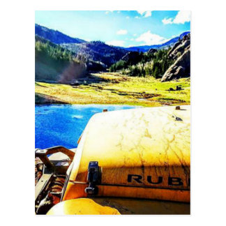 Top of a Yellow Jeep with Mountains Postcard