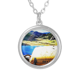 Top of a Yellow Jeep with Mountains Silver Plated Necklace