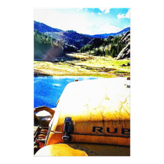 Top of a Yellow Jeep with Mountains Stationery