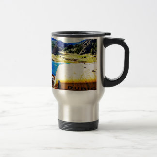 Top of a Yellow Jeep with Mountains Travel Mug