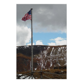 Top of Mountain with Flag Photo Nature Wall Poster