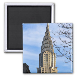 Top of the Chrysler Building, Bare Trees 2 Inch Square Magnet