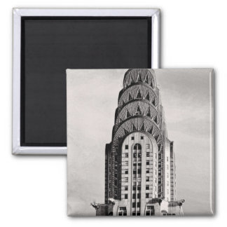Top of the Chrysler Building NYC - B&W 2 Inch Square Magnet