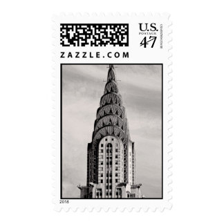 Top of the Chrysler Building NYC - B&W Postage Stamp