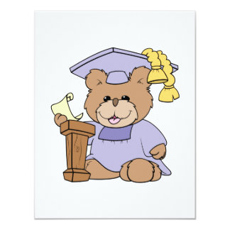 top of the class graduation bear design 4.25x5.5 paper invitation card