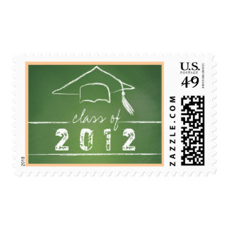 Top of the Class Green Chalkboard Graduation Stamp