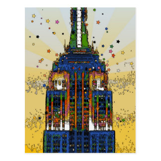 Top of the Empire State Psychedelic NYC Style Postcard