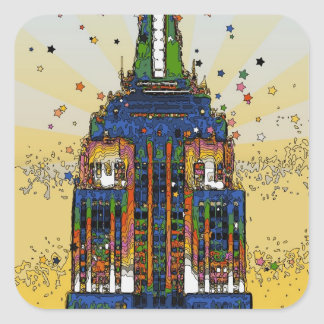 Top of the Empire State Psychedelic NYC Style Square Sticker