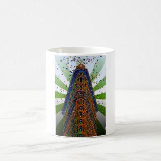 Top of the Flatiron Building - Green & White Rays Coffee Mug