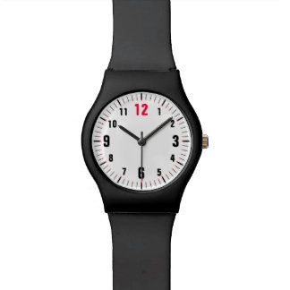 Top Of The Hour Easy To Read Red Twelve Wristwatch