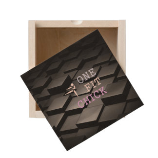 TOP One Fit Chick Wooden Keepsake Box