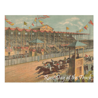 TOP Race Day at the Track Post Card