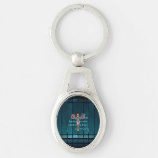 TOP Rally Diva Silver-Colored Oval Metal Keychain