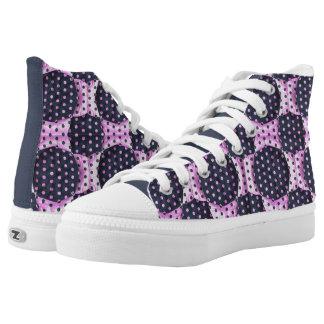 Top rosado/azul del alto del modelo del edredón zapatillas