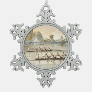 TOP Rowing Snowflake Pewter Christmas Ornament