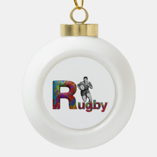 TOP Rugby Ceramic Ball Christmas Ornament