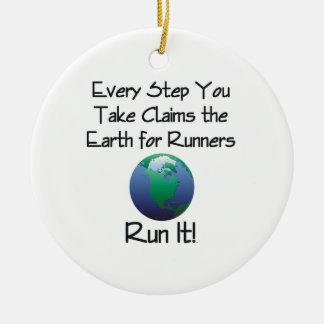TOP Run Earth Ceramic Ornament