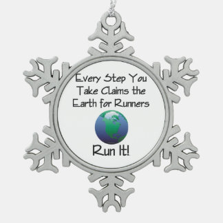 TOP Runner's Earth Snowflake Pewter Christmas Ornament