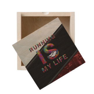 TOP Running is My Life Wooden Keepsake Box