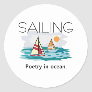 TOP Sailing, Poetry in Ocean Classic Round Sticker