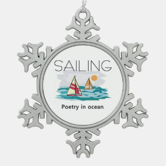 TOP Sailing Poetry Snowflake Pewter Christmas Ornament