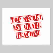 Top Secret 1st Grade Teacher Postcard