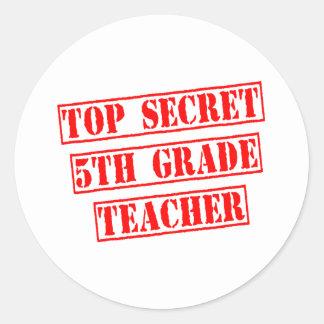 Top Secret 5th Grade Teacher Round Stickers