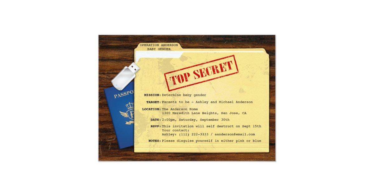 Top Secret Agent Mission Baby Gender Reveal Party Card   Zazzle.com