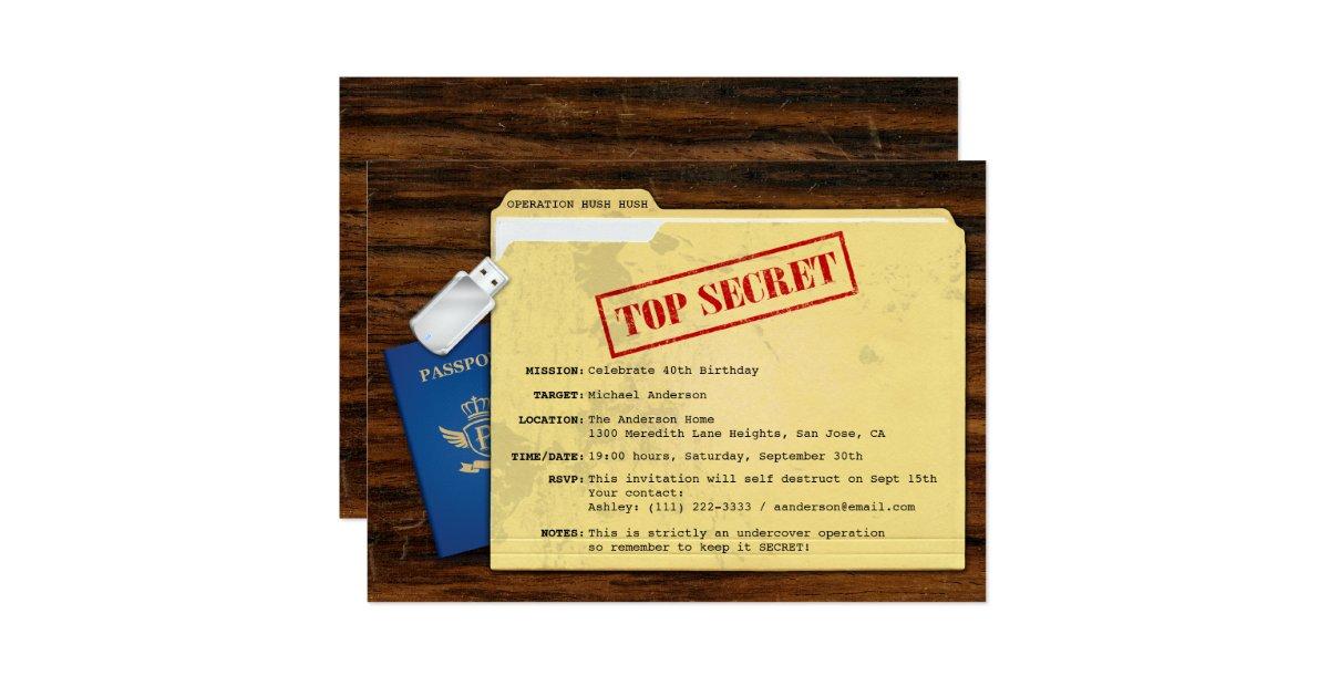 Top Secret Agent Mission Surprise Party Invitation – Top Secret Party Invitations