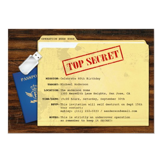 Top Secret Agent Mission Surprise Party Invitation