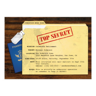 Top Secret Agent Mission Surprise Retirement Party Custom Invites