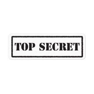 Top secret black stamped label