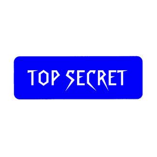 TOP SECRET blue background white letters Label