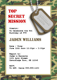 Camouflage party invitations announcements zazzle top secret camouflage camo birthday party card bookmarktalkfo Image collections