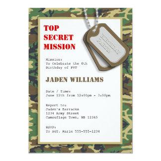 "Top Secret Camouflage / Camo Birthday Party 5"" X 7"" Invitation Card"