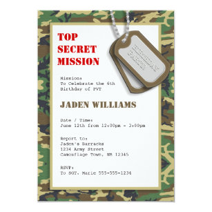 Top Secret Camouflage Camo Birthday Party Invitation