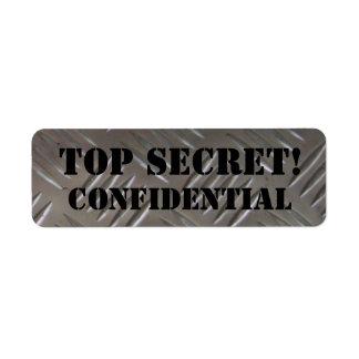 top secret - confidential custom return address label