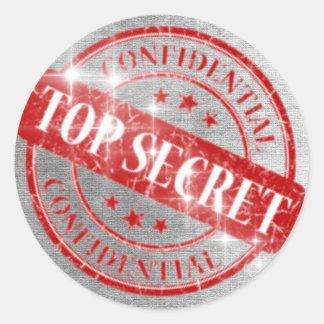 Top Secret Confidential Silver Glitter Classic Round Sticker