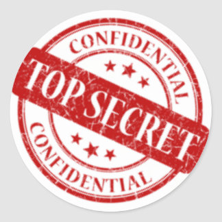 Top Secret Confidential Stamp White Stars Red Classic Round Sticker