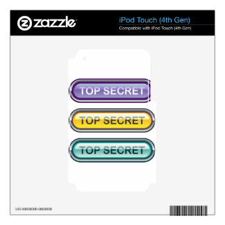 Top Secret Glossy Button iPod Touch 4G Decals