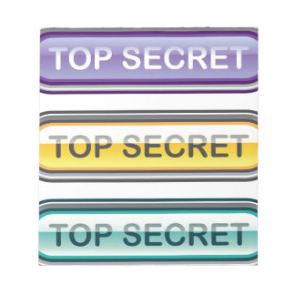 Top Secret Glossy Button Notepad